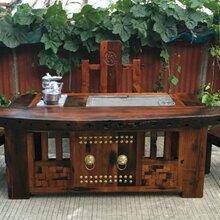 全国老船木茶桌家具实木茶几中式功夫茶台休闲茶桌龙骨茶桌椅组合船家具图片
