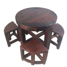 老船木茶桌茶台实木新中式阳台品茶桌椅组合方形茶几禅意简约客厅图片