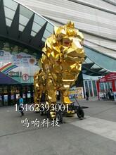 机械大象喷水动态镜面金狮活动巡演道具租赁