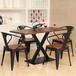 低价了!厂家众美德专业定制实木餐桌主题餐厅铁艺实木餐桌椅音乐餐厅桌椅成套定制