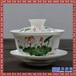 景德镇手绘陶瓷盖碗茶具手工粉彩花鸟三才碗功夫茶杯大码茶碗