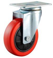 厂家直销中型红色塑芯聚氨酯万向脚轮工业PU脚轮图片