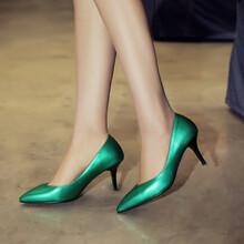 2017春夏新品真皮女鞋尖头浅口女士高跟鞋头层牛皮百搭简约单鞋女