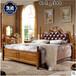 1.5m1.8米全實木床真皮雙人床橡木低箱床美式家具批發