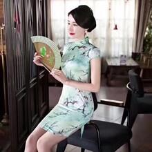 品牌真絲連衣裙批發中國風旗袍廣州服裝貨源圖片