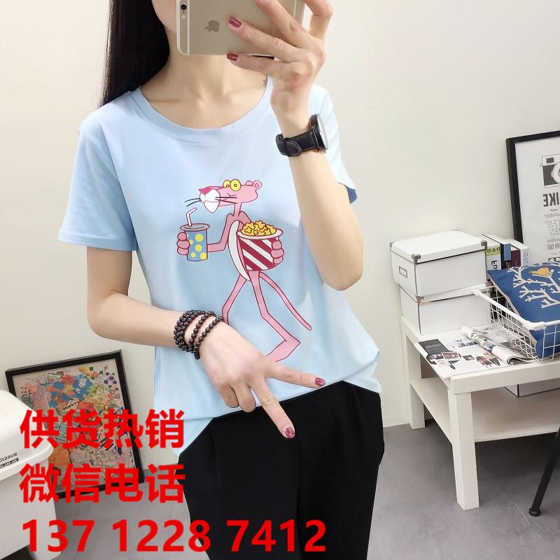 上海长宁服装市场批发女式短袖卡通圆领竹纤棉上衣半袖修身百搭打底小衫批发
