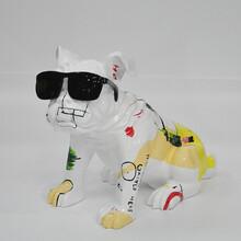 BMB热销树脂卡通动物摆件英国斗牛犬戴眼镜样板房装饰美陈