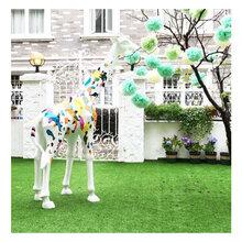 BMB热销玻璃钢卡通动物摆件钻石多面长颈鹿手工彩绘工艺品商场园林景观户外雕塑