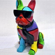 欣意美热销树脂卡通动物摆件太阳眼镜斗牛犬时尚坐狗样板房装饰