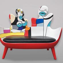 欣意美直销玻璃钢家具创意情侣双位沙发商场酒店装饰美陈