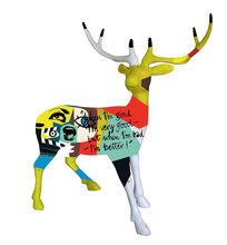 欣意美直销玻璃钢手工彩绘鹿小号卡通动物仿真鹿摆件园林景观雕塑
