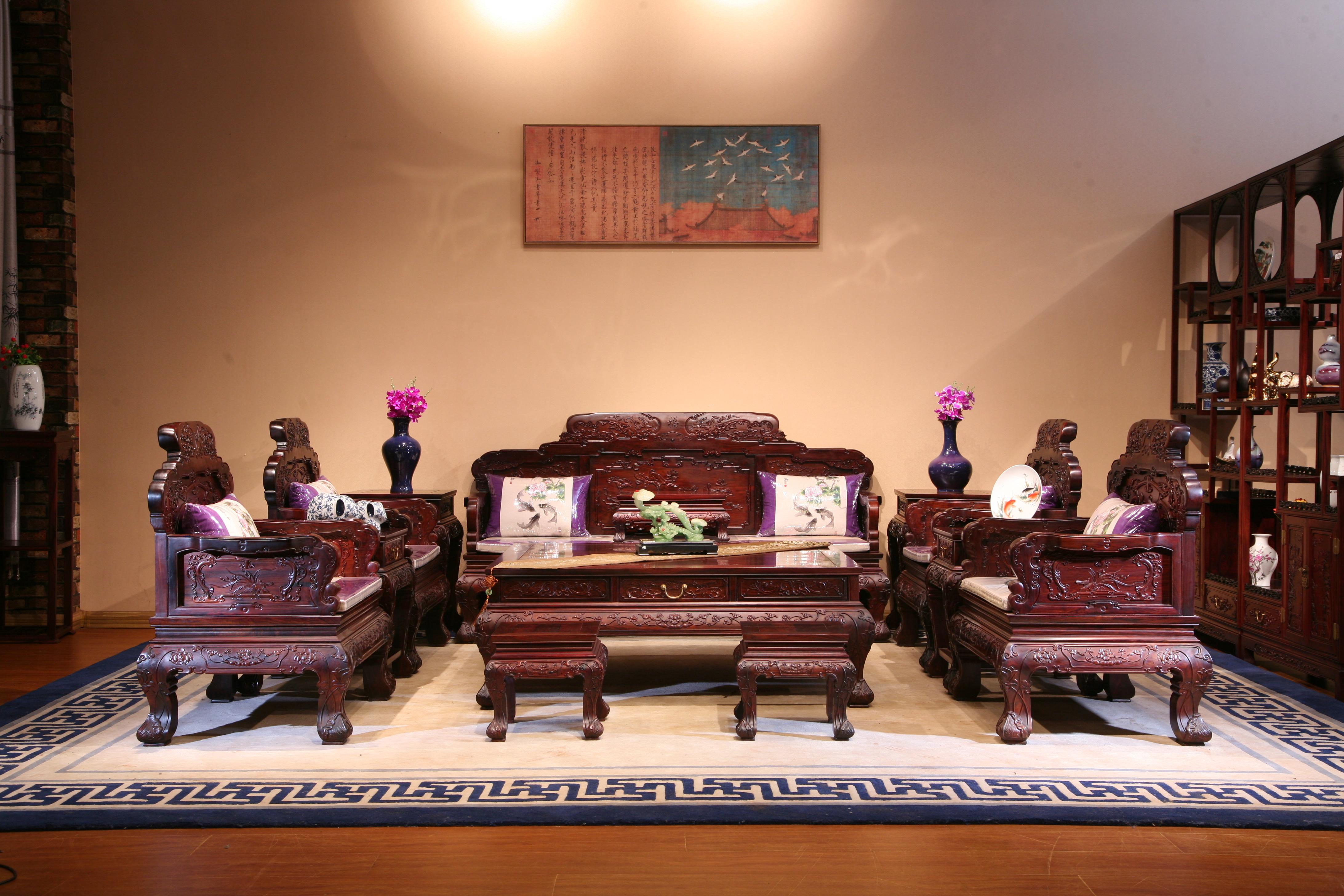 红木沙发坐垫图片