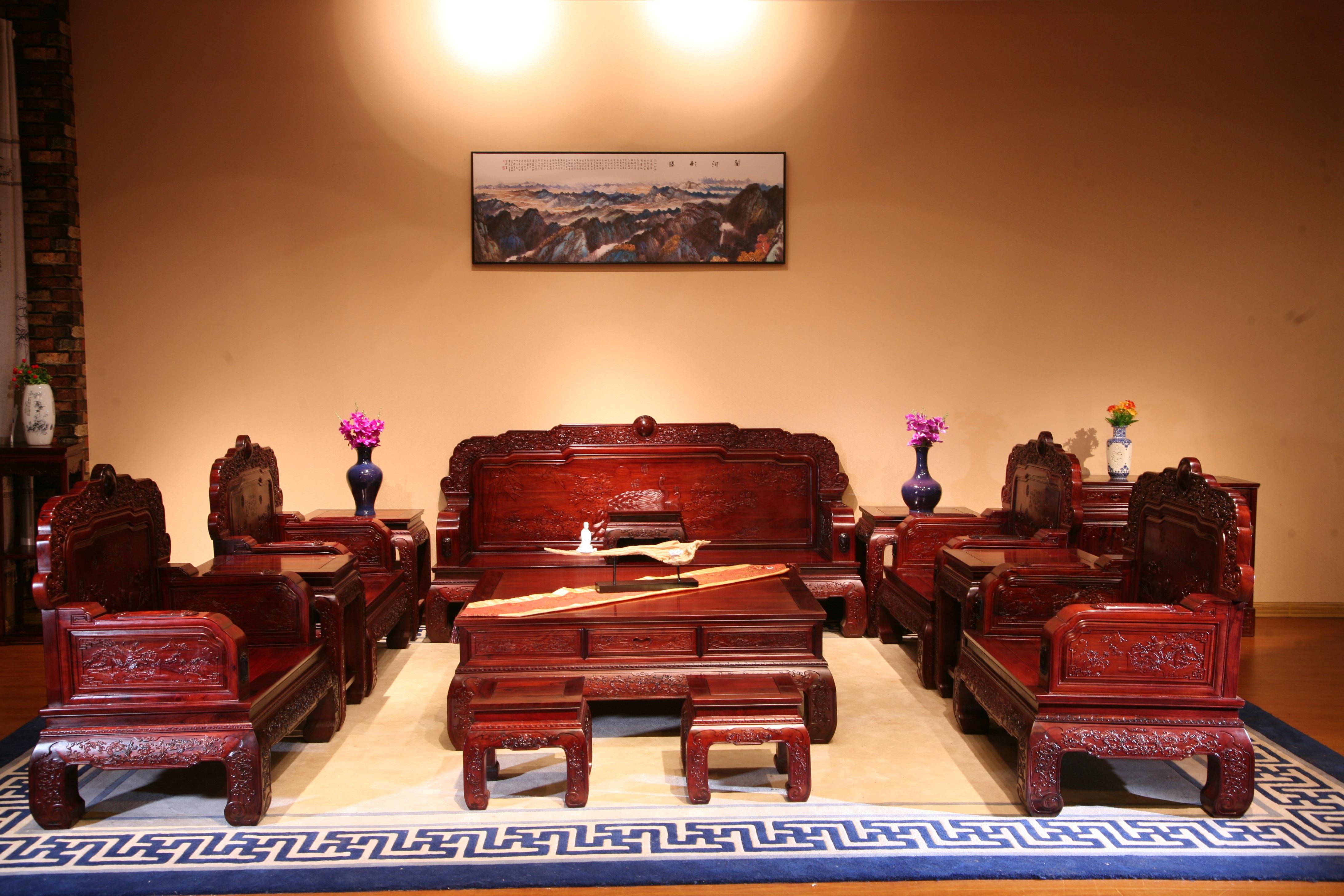 红木沙发组合古典沙发红酸枝系列沙发组合厂家直销红木家具实木家具