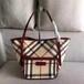 Burberry博柏利/巴寶莉女士PVC棕色格紋經典手提包/托特包