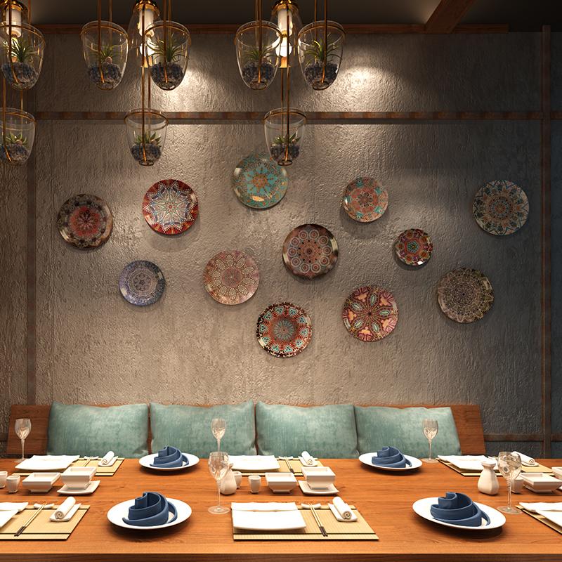 样板间客厅墙壁软装饰品陶瓷挂壁饰品现代新中式创意陶瓷挂盘
