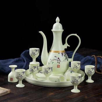 空酒瓶子组合一斤装陶瓷酒坛白酒土陶家用小日式酒壶