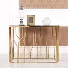 现代简约墙边香槟金玄关案台客厅沙发背几玄关桌不锈钢大理石玄关样板房家具
