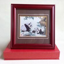 定制创意礼品相框红木色实木蜀锦相框织锦画刺绣装裱相框批发图片