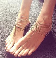 外贸爆款脚链欧美热销时尚百搭街拍性感多层链条流苏脚链SL007图片