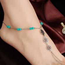 速卖通爆款脚饰外贸欧美波西米亚时尚复古镂空雕花绿珠连趾脚链图片