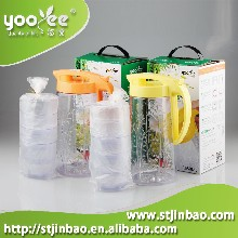 厂家直销新品597悠悦青竹水壶套装1650ml大容量水壶配4个杯塑料壶果汁饮品水壶套装图片