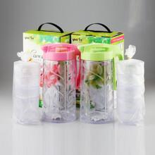 厂家直销598悠悦青叶水壶套装1650ml大容量水壶配4个杯塑料果汁饮品滑扣水壶套装图片