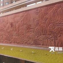 大型手工敲铜浮雕壁画、户外紫铜山水画背景墙安装效果图片