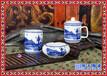 景德镇青花茶具骨瓷茶杯笔筒陶瓷办公文具书房三件套件