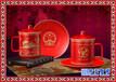 景德镇陶瓷办公桌文具用品笔筒烟缸老板杯茶具三件套装
