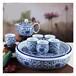 陶瓷纯手绘青花套装白瓷功夫茶具盖碗斗笠杯办公室家用整套