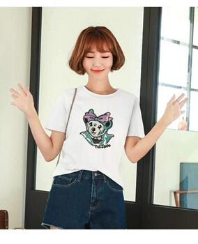 潮牌夏装维尼纯棉T恤套装品牌折扣女装剪标