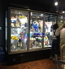鲜花柜带灯箱射灯,鲜花展示保鲜柜,花卉花材玻璃门陈列柜