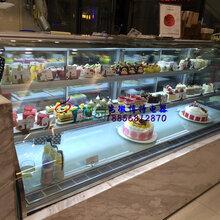 西点烘焙店展示冷柜,郴州定做双弧形蛋糕柜,加热丝除雾西点柜图片