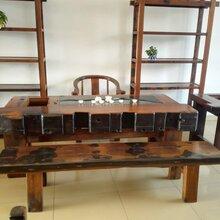 老船木海船龙骨大茶台中式复古功夫泡茶桌椅组合客厅茶室实木家具图片