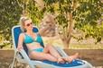 水上游樂休閑躺椅折疊塑料躺椅藍色進口特斯林躺椅