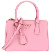 PRADA普拉达女士Galleria系列浅玫瑰色牛皮手提单肩斜挎包
