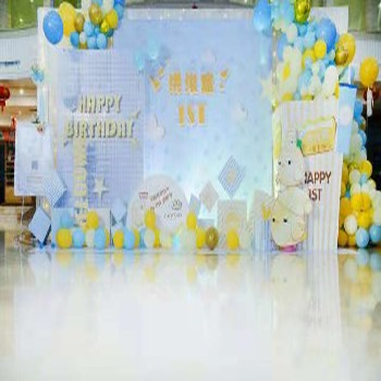 长沙气球周岁宴布置宝宝宴布置生日宴布置蓝色风格主题布置