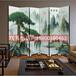 新中式彩繪家具屏風隔斷玄關裝飾畫背景墻貴客室客廳可移動屏風