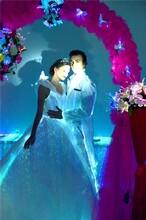 厂家定制发光婚纱夜光婚纱光纤晚礼服led婚纱晚宴发光礼服