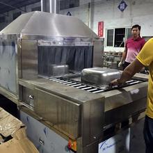 佛山顺德通过式不锈钢水槽水盆喷淋清洗漂洗烘干线厂家图片