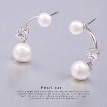 愛思唯爾925純銀珍珠耳環大小耳墜韓版時尚氣質天然大氣防過敏耳釘圖片