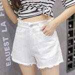 日韩女装牛仔短裤高腰破洞摆摊浅蓝棉弹洗水牛仔短裤10到20元