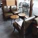 沙發咖啡廳創意實木沙發西安生產定制