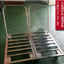 厂家直销定做不锈钢小推车拉货车单层运货车定制方格式手推车图片
