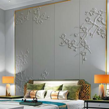 中式艺术背景墙仿真皮革面料环保