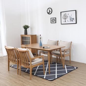 软装北欧复古组合餐桌刺绣背景墙手绘护墙板