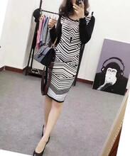 外贸女装美国单~复古修身黑白纹路显瘦针织连衣裙秋5100件左右,全清价格19.8图片