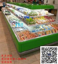上海超市风冷环形蔬菜水果保鲜柜,酒水饮料冷藏展示柜,大型风冷环岛柜定做