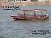 景區小木船生產廠家電動旅游船高低篷木船雙篷船手劃船搖櫓船觀光木船載客游船