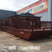 厂家直销40人座画舫游船,手工实木木船定做